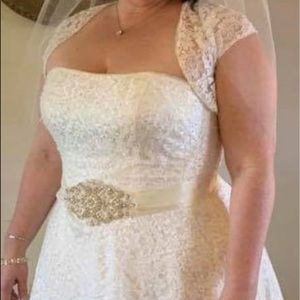 Wedding dress, sash, Size 18 from David's Bridal